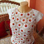 Одежда ручной работы. Ярмарка Мастеров - ручная работа Кофта крючком Ромашки. Handmade.