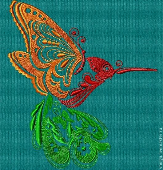 """Вышивка ручной работы. Ярмарка Мастеров - ручная работа. Купить Дизайн машинной вышивки """"Птичка- бабочка"""". Handmade. вискоза"""