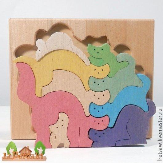 """Игрушки животные, ручной работы. Ярмарка Мастеров - ручная работа. Купить Пазл-балансир """"Кошки-мышка"""" цветной. Handmade. Игрушка"""