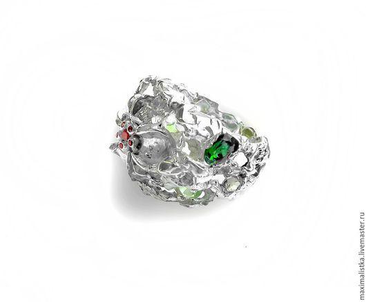 """Кольца ручной работы. Ярмарка Мастеров - ручная работа. Купить Кольцо """"Каменный цветок"""" серебро, турмалины. Handmade. Турмалин, хризолит"""