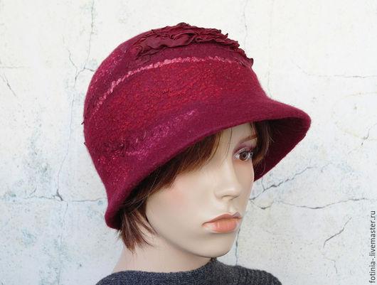 Шляпы ручной работы. Ярмарка Мастеров - ручная работа. Купить Шляпка валяная ЗИМНЯЯ ВИШНЯ. Handmade. Бордовый, Шляпа валяная