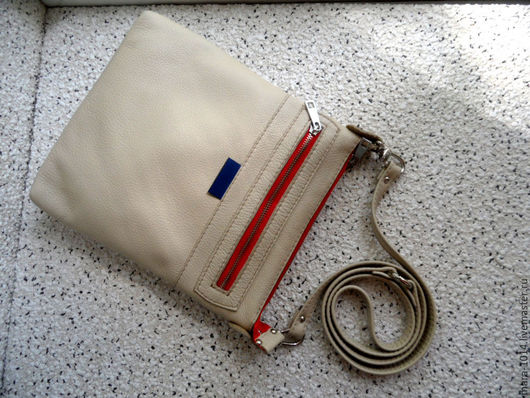 Женские сумки ручной работы. Ярмарка Мастеров - ручная работа. Купить ТОКИО кожаная сумка-планшет, светло-бежевый, молочный. Handmade.