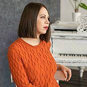 Одежда ручной работы. Ярмарка Мастеров - ручная работа Платье солнечное рыжее вязаное. Handmade.
