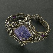 Braided bracelet handmade. Livemaster - original item Bracelet goddess Iaahci (brass bracelet with charoite and amethyst). Handmade.
