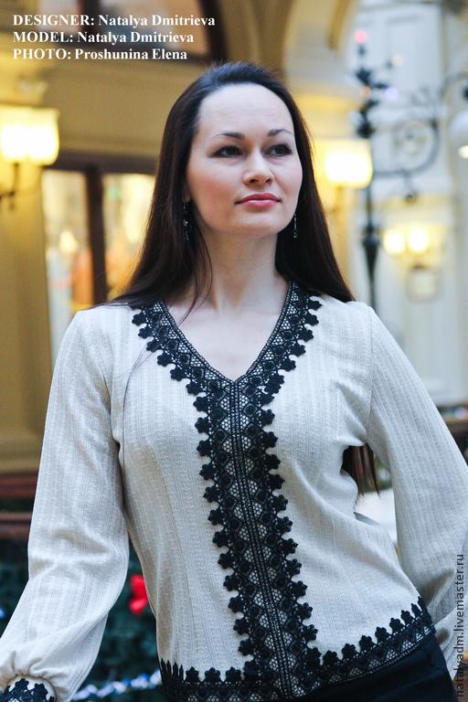 """Блузки ручной работы. Ярмарка Мастеров - ручная работа. Купить Блуза с кружевом """"Milena"""". Handmade. Бежевый, кружево, трикотаж"""