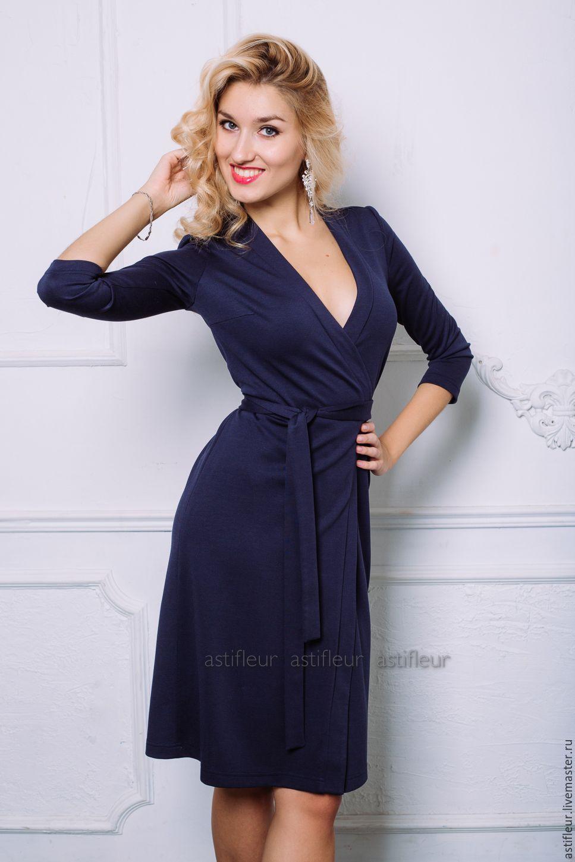 Синее платье с запахом купить