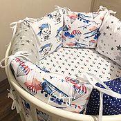 Бортики в кроватку ручной работы. Ярмарка Мастеров - ручная работа Бортики в кроватку: Бортики подушки, детское постельное, одеяло, конверт в детскую кровать. Handmade.