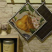 Для дома и интерьера ручной работы. Ярмарка Мастеров - ручная работа Прихватки для кухни льняные Груши 2 штуки. Handmade.