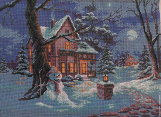 Картина вышитая `Рождественская ночь`