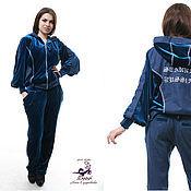 Одежда ручной работы. Ярмарка Мастеров - ручная работа Костюм для отдыха в спортивном стиле из бархата и джинса с вышивкой. Handmade.