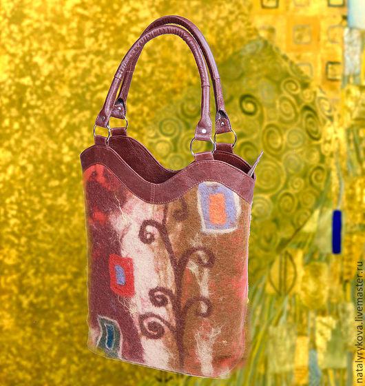 Женские сумки ручной работы. Ярмарка Мастеров - ручная работа. Купить Истории Климта 2 сумка валяная + кожа натуральная. Handmade.