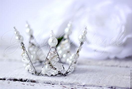 Диадемы, обручи ручной работы. Ярмарка Мастеров - ручная работа. Купить Жемчужная корона для принцессы. Handmade. Белый, ободок