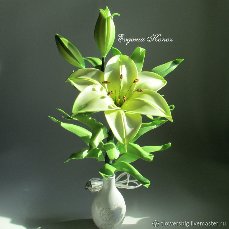 Table lamp 'Lily with buds in a vase' Gift for March 8, Table lamps, Slavgorod,  Фото №1