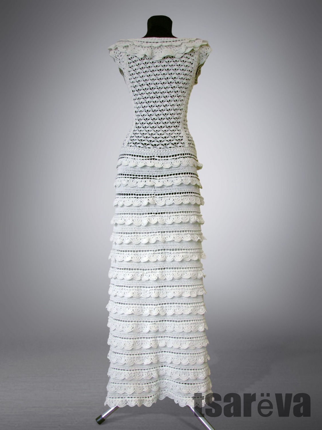 Crochet dress Letizia. White maxi handmade wedding or evening dress ...