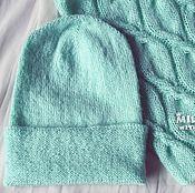 Аксессуары handmade. Livemaster - original item Set knitted Mint Candy, beanie cap and snud.. Handmade.