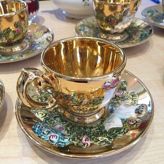 Винтажная посуда. Ярмарка Мастеров - ручная работа. Купить Каподимонте сервиз. Handmade. Каподимонте, сервиз золотого цвета, итальянская посуда