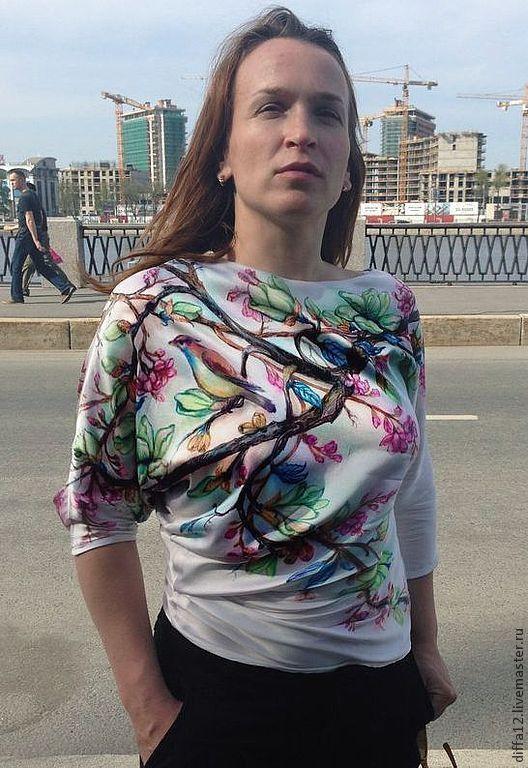 """Блузки ручной работы. Ярмарка Мастеров - ручная работа. Купить Блузка """"Орхидея"""". Handmade. Белый, шелк, роспись ручная, блузка"""