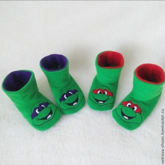 """Обувь ручной работы. Ярмарка Мастеров - ручная работа. Купить Домашние сапожки """"Черепашки-ниндзя"""". Handmade. Зеленый, домашние тапочки"""