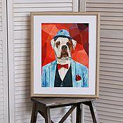 Картины и панно ручной работы. Ярмарка Мастеров - ручная работа Американский бульдог. Постер. Handmade.