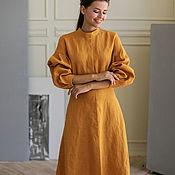 Одежда handmade. Livemaster - original item Mustard linen dress with a stand-up collar. Handmade.