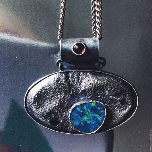 Pendants handmade. Livemaster - handmade. Buy opal suspension 'roerich'.Combo, suspension with opal, hessonite garnet