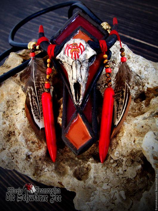 Кулон из полимерной глины с турквенитом и кошачьим глазом `Индейское лето`  Единственный экземпляр