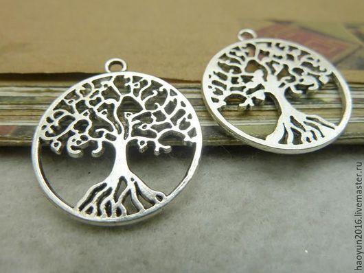 Для украшений ручной работы. Ярмарка Мастеров - ручная работа. Купить 10 шт металлические подвески старинное серебро дерево, Древо жизни c70. Handmade.