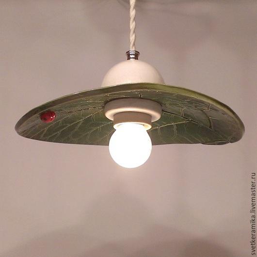 Освещение ручной работы. Ярмарка Мастеров - ручная работа. Купить Керамический светильник на подвесе «Лопух». Handmade. Керамический плафон
