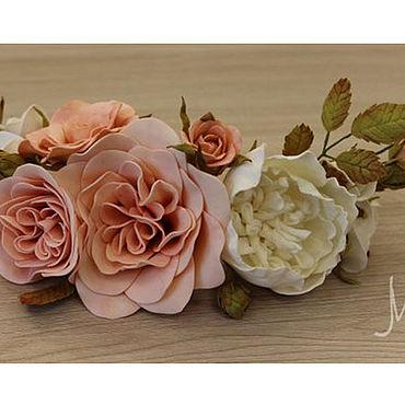 Свадебный салон ручной работы. Ярмарка Мастеров - ручная работа Цветочное украшение для прически из фоамирана, полувенок. Handmade.