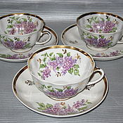 Посуда ручной работы. Ярмарка Мастеров - ручная работа 3 чайные пары Сирень Дулево. Handmade.