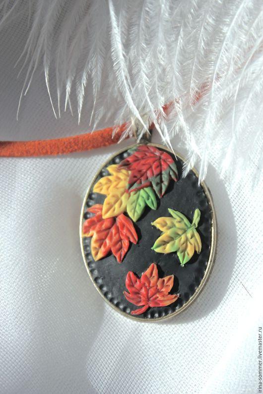 Кулоны, подвески ручной работы. Ярмарка Мастеров - ручная работа. Купить Кулон из полимерной глины Осенний листопад 2. Handmade.