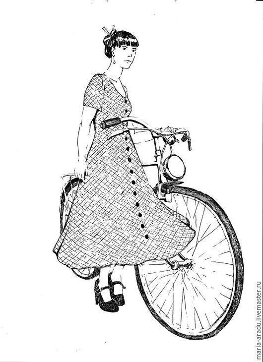 """Люди, ручной работы. Ярмарка Мастеров - ручная работа. Купить """"Барышня и велосипед"""" рисунок. Handmade. Чёрно-белый, белый цвет"""