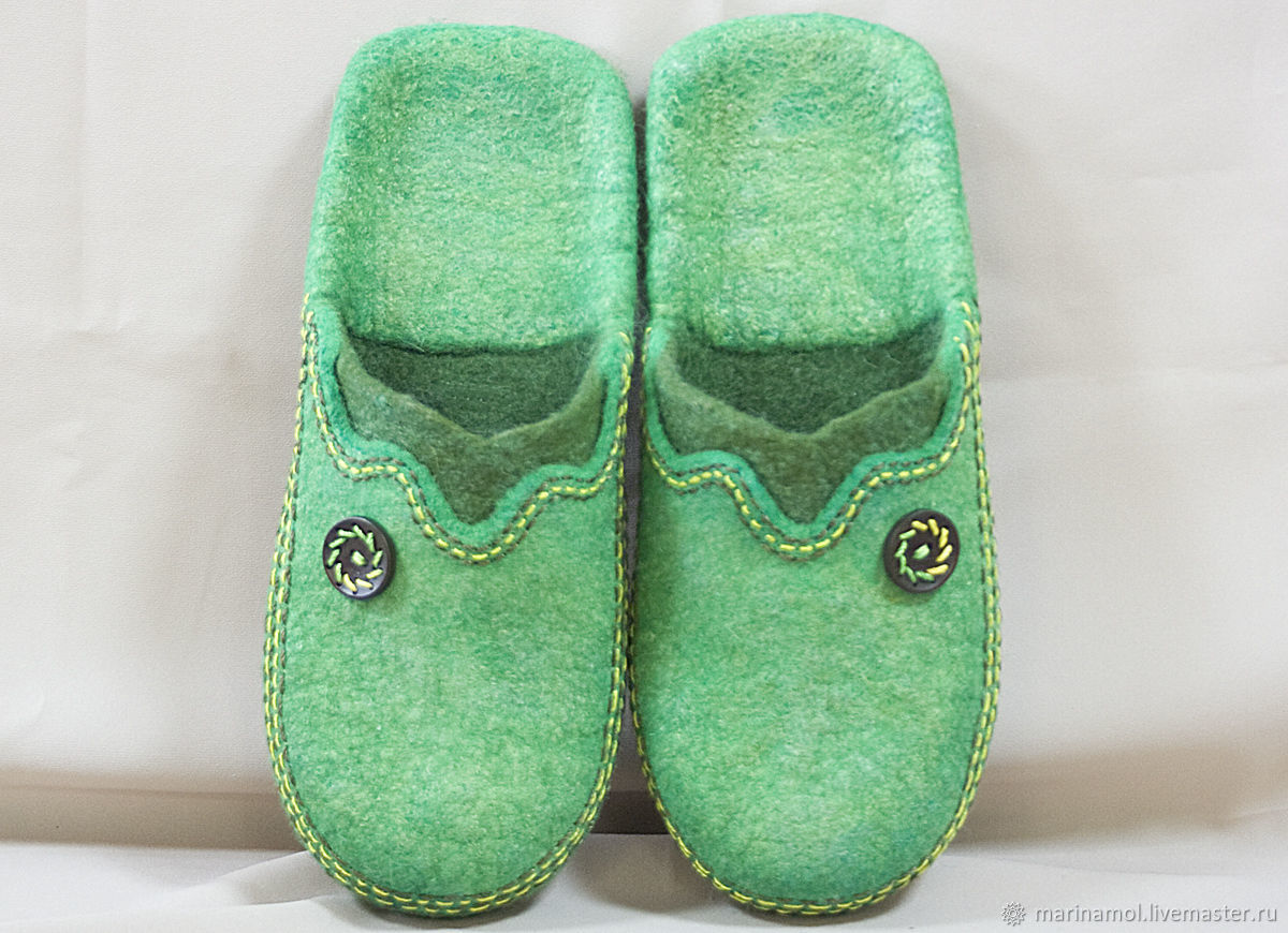 Felted Slippers Green, Slippers, Miass,  Фото №1