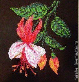 Decoration for the interior. Embroidered panels 'Fuchsia'. Bead embroidery, Pictures, Moscow,  Фото №1