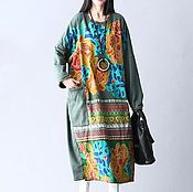 Одежда ручной работы. Ярмарка Мастеров - ручная работа Платье с длинными рукавами большого размера. Handmade.