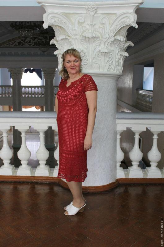 Платья ручной работы. Ярмарка Мастеров - ручная работа. Купить Льняное платье. Handmade. Малиновый, Малиновое платье