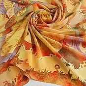 """Аксессуары ручной работы. Ярмарка Мастеров - ручная работа Платок шелковый """"Желтые фантазии"""". Handmade."""