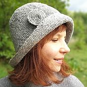 Аксессуары handmade. Livemaster - original item Crochet cloche hat women, ladies cloche hat in gray color. Handmade.