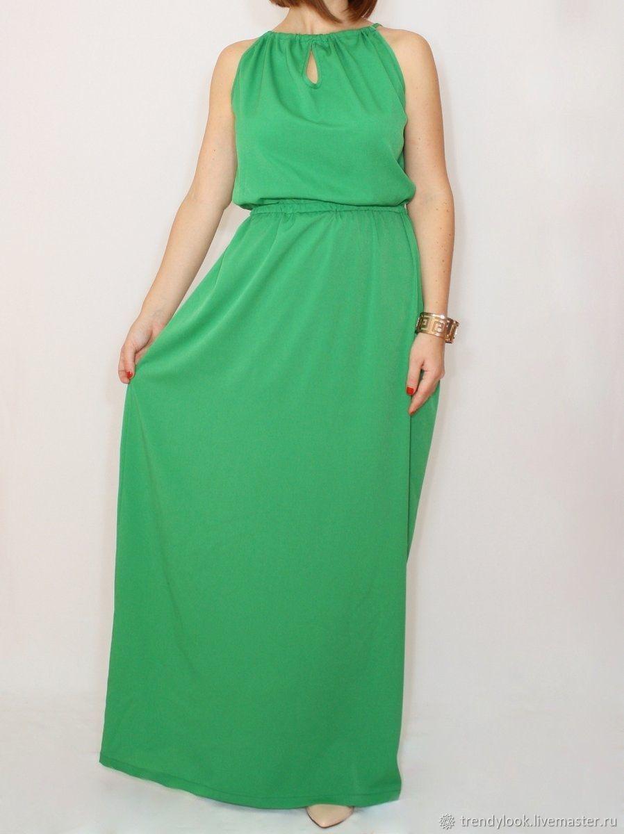 1ef43ef0bb00e37 Платья ручной работы. Заказать Ярко-зеленое платье из шифона, длинное  летнее платье, ...