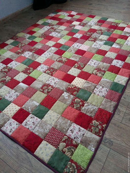 Текстиль, ковры ручной работы. Ярмарка Мастеров - ручная работа. Купить Лоскутное одеяло. Handmade. Бордовый, хлопок для пэчворка