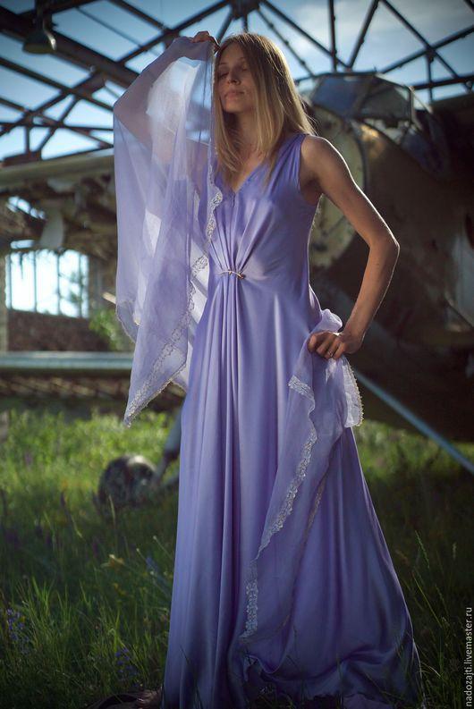 Платья ручной работы. Ярмарка Мастеров - ручная работа. Купить Сиреневое атласное платье. Handmade. Сиреневый, шёлк натуральный