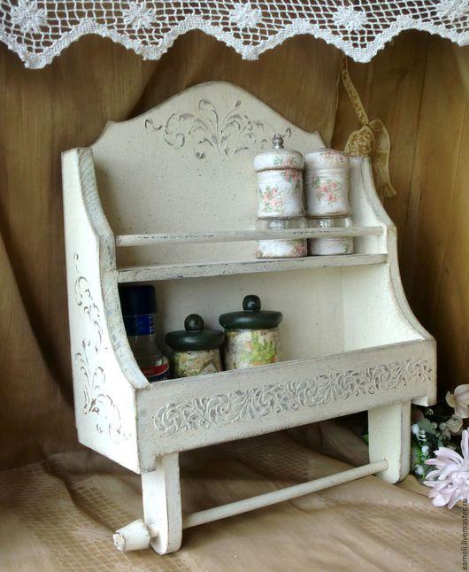 """Мебель ручной работы. Ярмарка Мастеров - ручная работа. Купить """"Ваниль"""" Полочка для кухни. Handmade. Бежевый, полка деревянная, ваниль"""