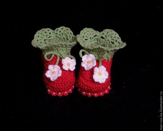 Для новорожденных, ручной работы. Ярмарка Мастеров - ручная работа. Купить Туфельки для маленькой принцессы 6. Handmade. Ярко-красный