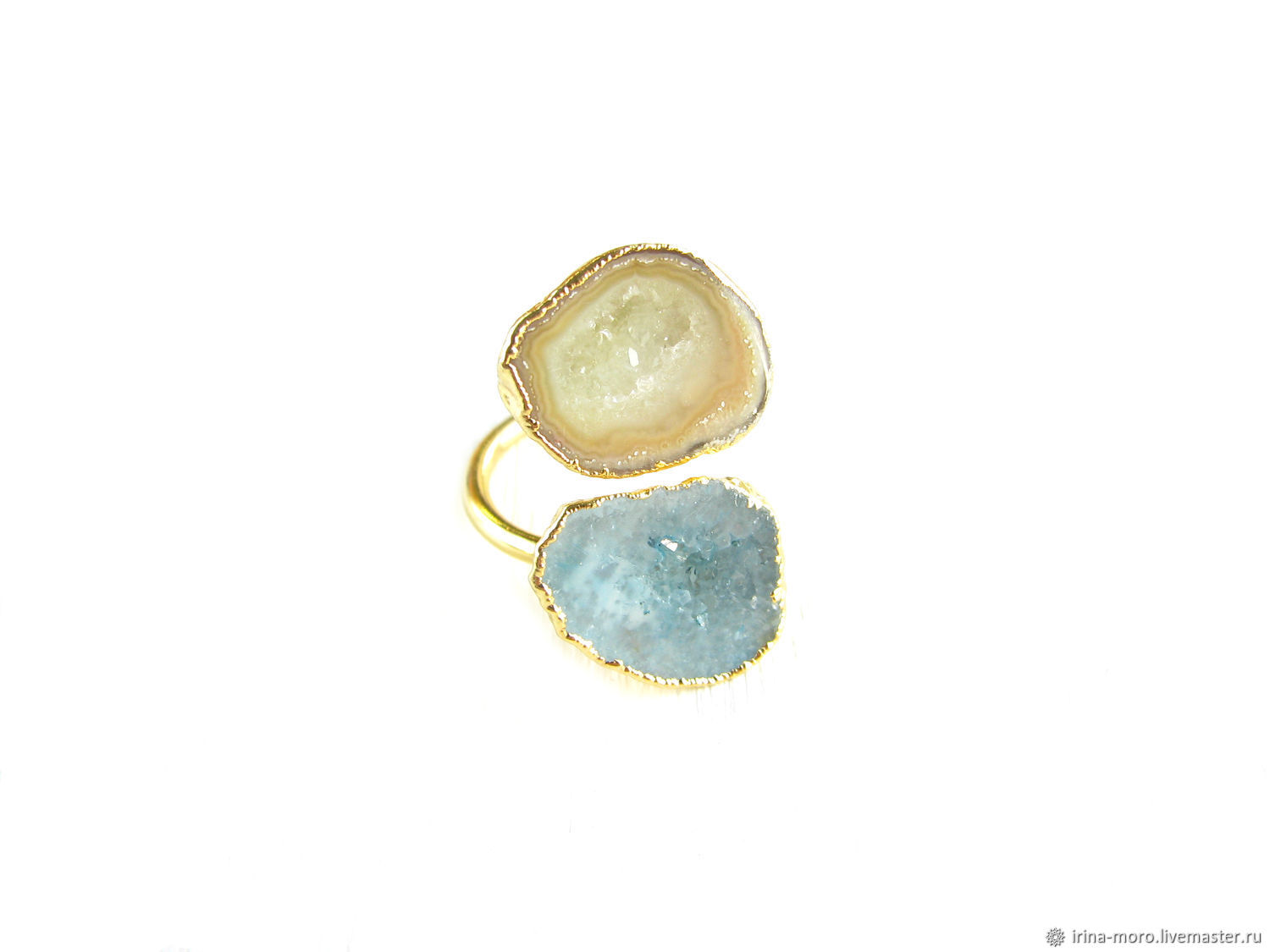 Gold ring with quartz 'Spring' ring with two stones, Rings, Moscow,  Фото №1
