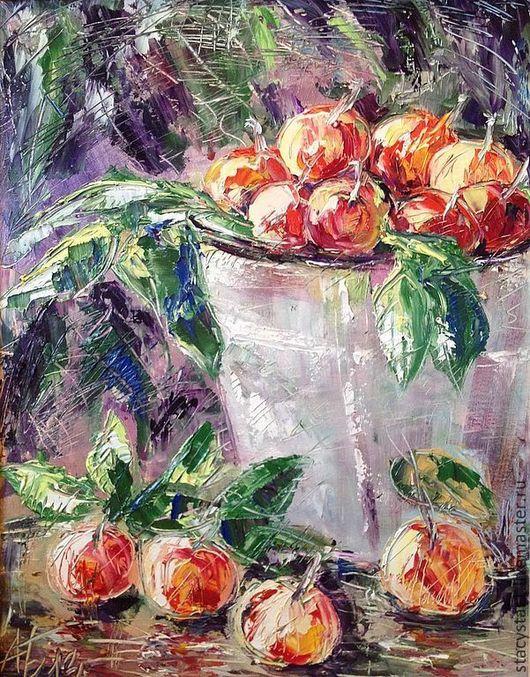 """Картины цветов ручной работы. Ярмарка Мастеров - ручная работа. Купить Картина: """"Яблоки собрали"""". Handmade. Рыжий, натюрморт, масло"""
