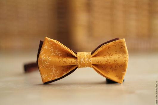 Галстуки, бабочки ручной работы. Ярмарка Мастеров - ручная работа. Купить Бабочка горчичная с орнаментом детская/взрослая. Handmade. Желтый, горчица