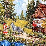 Картины и панно handmade. Livemaster - original item Picture. Little red riding hood. Embroidery ribbons.. Handmade.