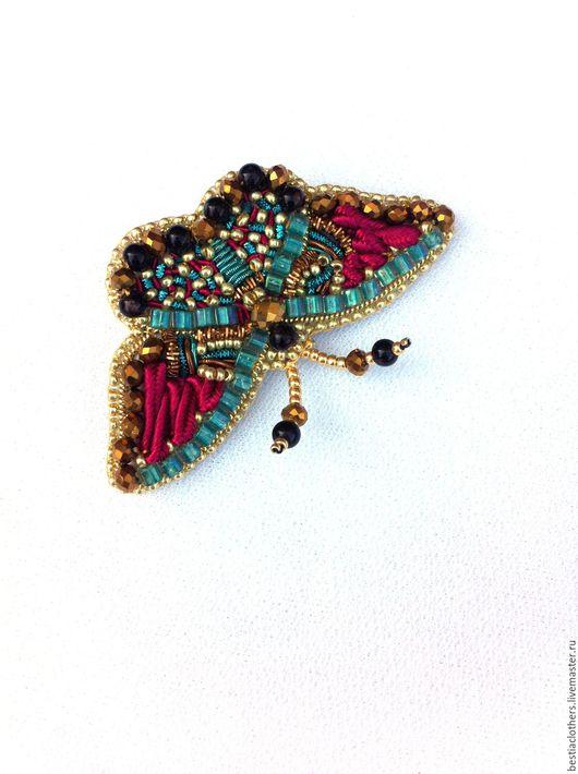 """Броши ручной работы. Ярмарка Мастеров - ручная работа. Купить Брошь бабочка """"Бордо"""". Handmade. Бабочка, вышитая брошь, бордовый"""