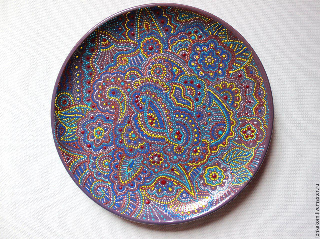 Decorative Plate With Dot Painting Purple Gift Zakazat Na Yarmarke Masterov A69lpcom Tarelki Elektrostal