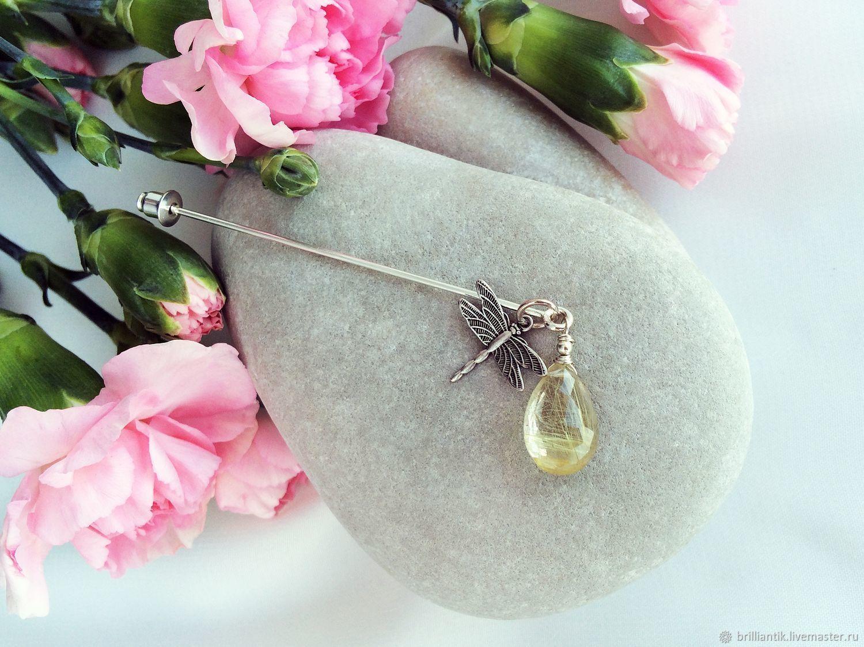 Брошь рутиловый кварц серебро, Бриллиантик, купить украшение с волосатиком, серебряное украшение с камнями, серьги с натуральными камнями, серебряные серьги с натуральным кварцем, купить подарок Питер